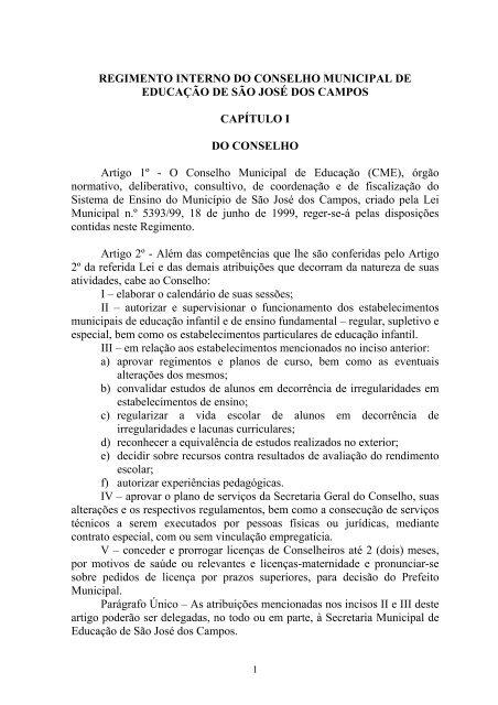 Regimento Interno do Conselho Municipal de Educação - Prefeitura ...
