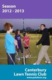 Canterbury Lawn Tennis Club Season 2012 ... - PoloFarm Sports Club