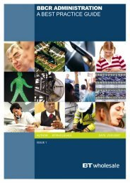 BBCR ADMINISTRATION A BEST PRACTICE GUIDE - BT Wholesale