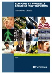 eCo Plus Fault Reporting Training Guide - BT Wholesale