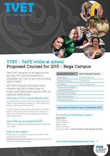 TVET - TAFE while at school Proposed Courses for 2013 - Bega ...