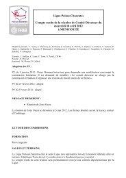 Comité Directeur du 18 avril 2012 - Ligue Poitou-Charentes de ...