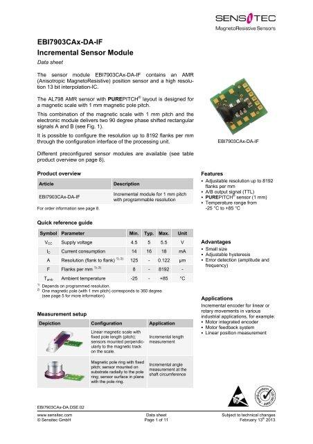 EBI7903CAx-DA-IF Incremental Sensor Module