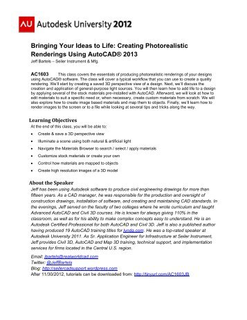 Bringing Your Ideas to Life: Creating Photorealistic ... - Autodesk