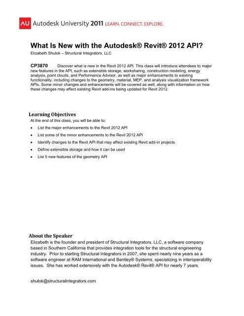 What Is New with the Autodesk® Revit® 2012 API?
