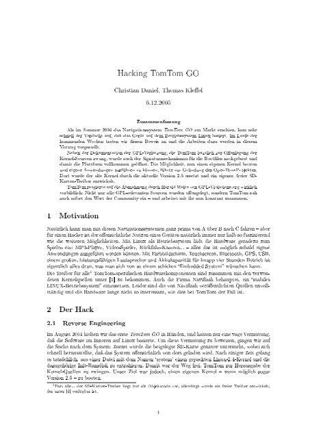 Paper: Hacking TomTom Go - CCC Event Weblog