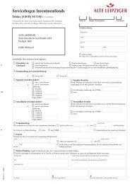 Servicebogen Investmentfonds - Alte Leipziger