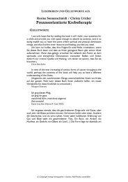 Prozessorientierte Krebstherapie - Verlag Homöopathie + Symbol
