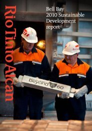 Bell Bay 2010 Sustainable Development report - Rio Tinto Alcan