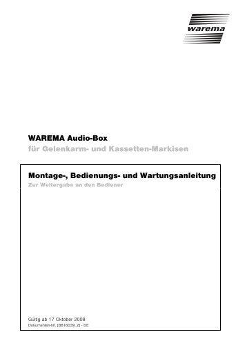 WAREMA Audio-Box für Gelenkarm- und ... - Finkeisen Sonnenschutz