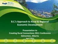B.C.'s Approach to Rural & Regional Economic Development