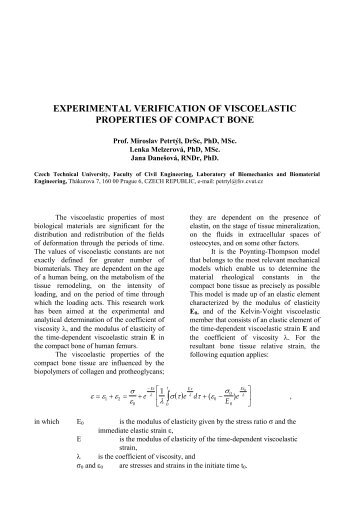 experimental verification of viscoelastic properties of compact bone