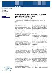 Uniformität des Mangels - Konrad-Adenauer-Stiftung