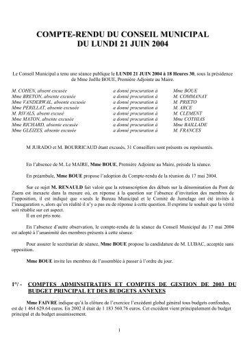 compte-rendu du conseil municipal du lundi 21 juin 2004 - Mairie de ...