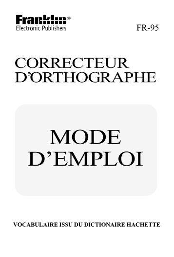 MODE D'EMPLOI - Franklin Electronic Publishers