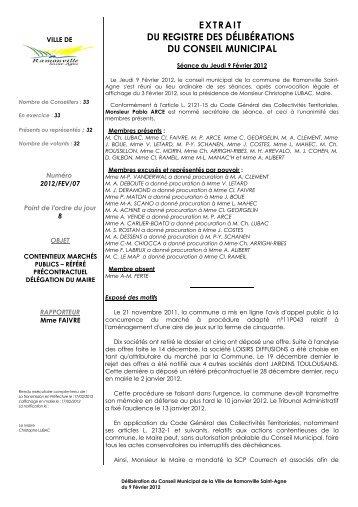 DU REGISTRE DES DÉLIBÉRATIONS DU CONSEIL MUNICIPAL