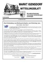 Zum Schulanfang, zum Kindergartenbeginn, zum ... - Markt Igensdorf