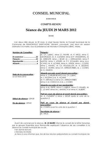 CONSEIL MUNICIPAL Séance du JEUDI 29 MARS 2012