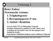 Ausgewählte Kapitel der Physik, SS 06, Prof. W. de Boer