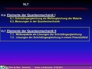 VL7 Elemente der Quantenmechanik I Elemente der Quantenmechanik II