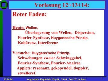 Roter Faden Vorlesung 12+13+14