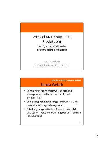 Wie viel XML braucht die Produktion? Ursula Welsch