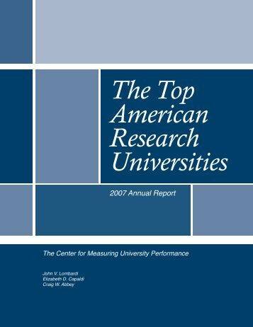 2007 Annual Report, (PDF) - The Center for Measuring University ...