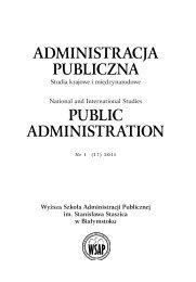 SPIS TREŚCI Zeszytów Naukowych WSAP Administracja Publiczna