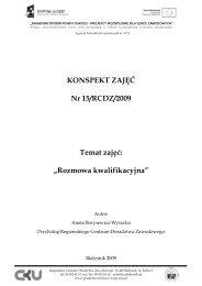 """KONSPEKT ZAJĘĆ Nr 15/RCDZ/2009 Temat zajęć """"Rozmowa kwalifikacyjna"""""""