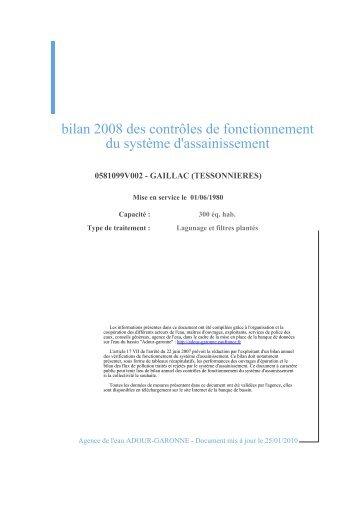 bilan 2008 des contrôles de fonctionnement du système d'assainissement
