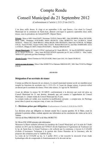 Compte Rendu Conseil Municipal du 21 Septembre 2012