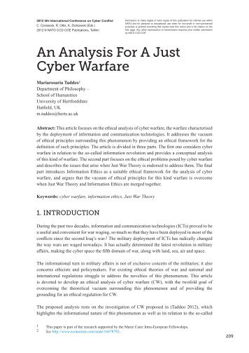 An Analysis For A Just Cyber Warfare