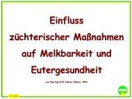 Einfluss züchterischer Maßnahmen auf Melkbarkeit und - Bayern