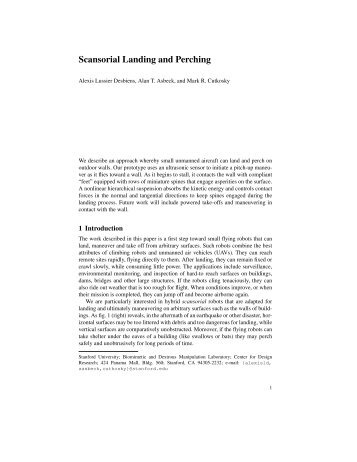 Scansorial Landing and Perching - Biomimetics and Dextrous ...