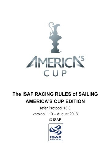 The ISAF RACING RULES of SAILING ... - from CupInfo.com