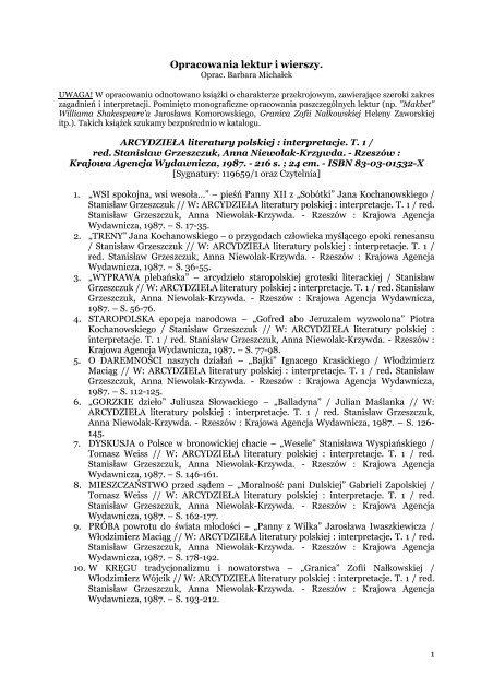 Opracowania lektur i wierszy - Pedagogiczna Biblioteka ...
