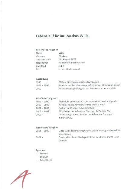 Lebenslauf Lic Iur Markus Wille