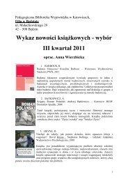 Wykaz nowości książkowych - wybór III kwartał 2011