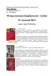 Wykaz nowości książkowych - wybór IV kwartał 2011