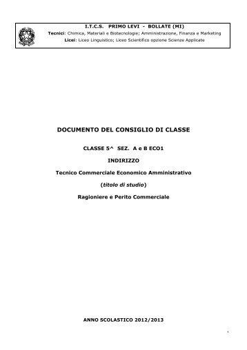 Documento Consiglio di Classe 5 A-B ... - ITCS Primo Levi