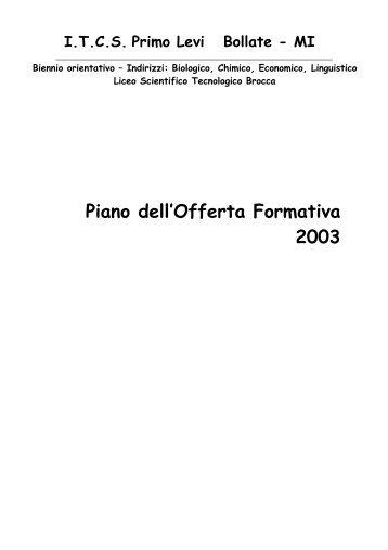Piano dell'Offerta Formativa 2003 - ITCS Primo Levi