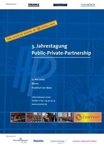 Anmeldung 3. Jahrestagung Public-Private- Partnership - Convent