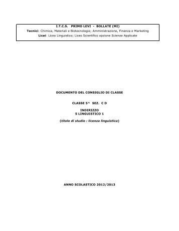 Documento Consiglio di Classe 5 C-D ... - ITCS Primo Levi
