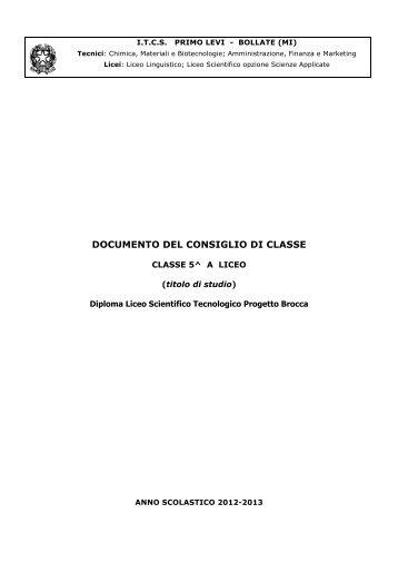 Documento CdC 5 A LS - ITCS Primo Levi
