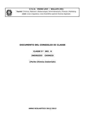 Documento Consiglio di Classe 5 G CHIMICO - ITCS Primo Levi