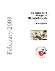 Managing Food Allergies in Mississippi Schools Guidelines