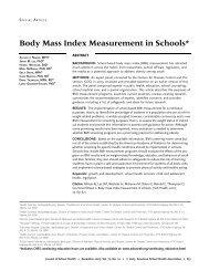 Body Mass Index Measurement in Schools*