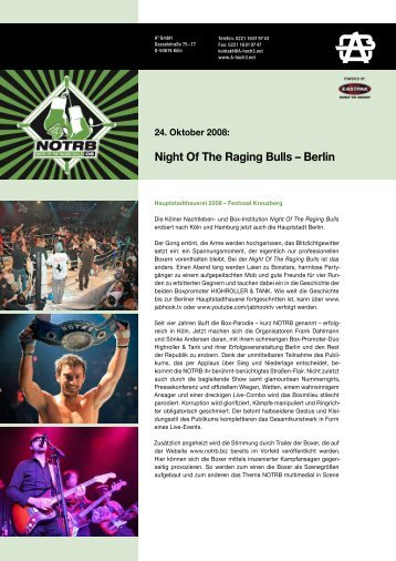 Night Of The Raging Bulls – Berlin