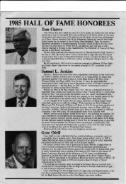 1985 HALI OF FAME HONOREES