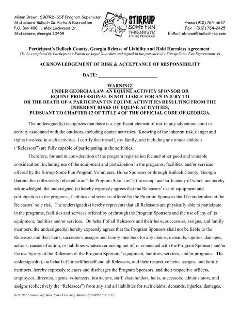 Release Of Liability And Hold Harmless Agreement